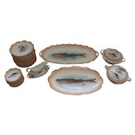 Antique French Limoges Fish Set 29 pieces, 19TH Porcelain. Laviolette Limoges.