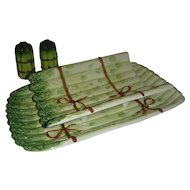 Majolica Asparagus Serving Dish with Salt & Pepper Set.