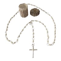 Dutch Silver Necklace Holy Cross with Silver Basket.