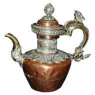 Antique Chinese Tibetan Red Copper and Silver Tea Pot.