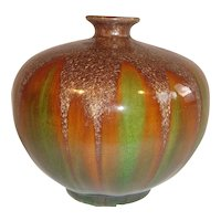 Beautiful Chinese Green Brown Sancai Glazed Vase.