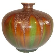 Beautiful Chinese Green Brown Sancai Glazed Vase.