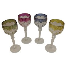Val St. Lambert Crystal Wine Goblets Glasses. Gonsole Osram