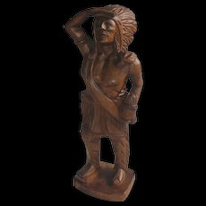 Vintage Cigar Store Indian Tobacco Wooden Statue, Native American Figurine.