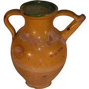Antique French Yellow Glazed Terracotta Cruche, Terra Cotta Pottery Jug.