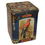Vintage N.V. Van Melle`s Biscuits Tin Can with Birds. Tin Box / Bin.