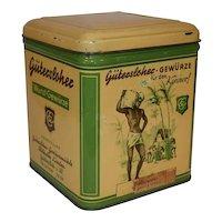 Art Deco Vintage German Tin Storage Can Gutersloher - Gewurze.
