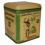 Art Deco Vintage German Tin Storage Can Gutersloher - Gewurze.