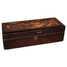 Antique Japanese Shibayama Kodansu Lacquered Gold Paint Box.