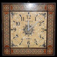 Vintage Damascus Marquetry Clock Quartz