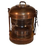 Antique Nautical Copper and Brass Ships Lantern Light Lamp by Perkins U.S.A.