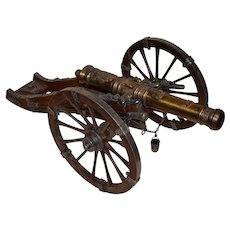 """Scale Model Bronze Cannon 18th Century French Louis XIV 28"""" Large."""