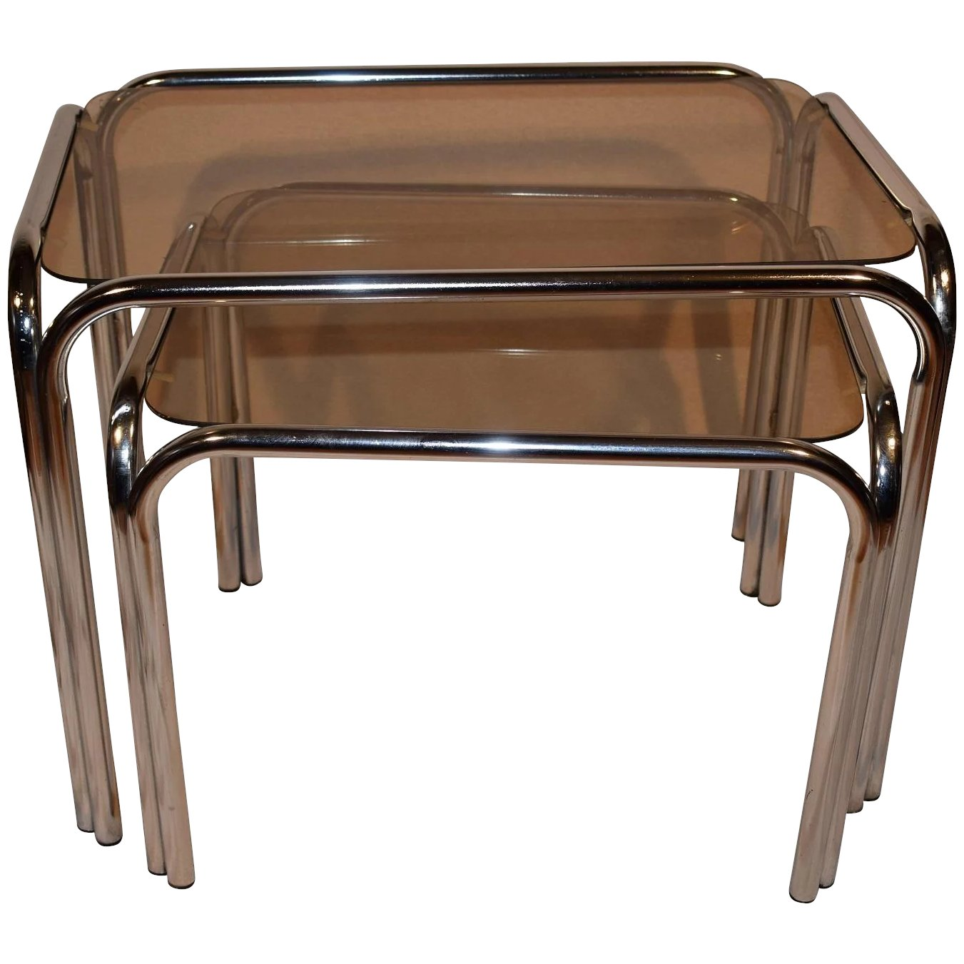 Mid Century Modern Retro 60 Chrome Smoked Glass Side Table Set Space Age Furniture