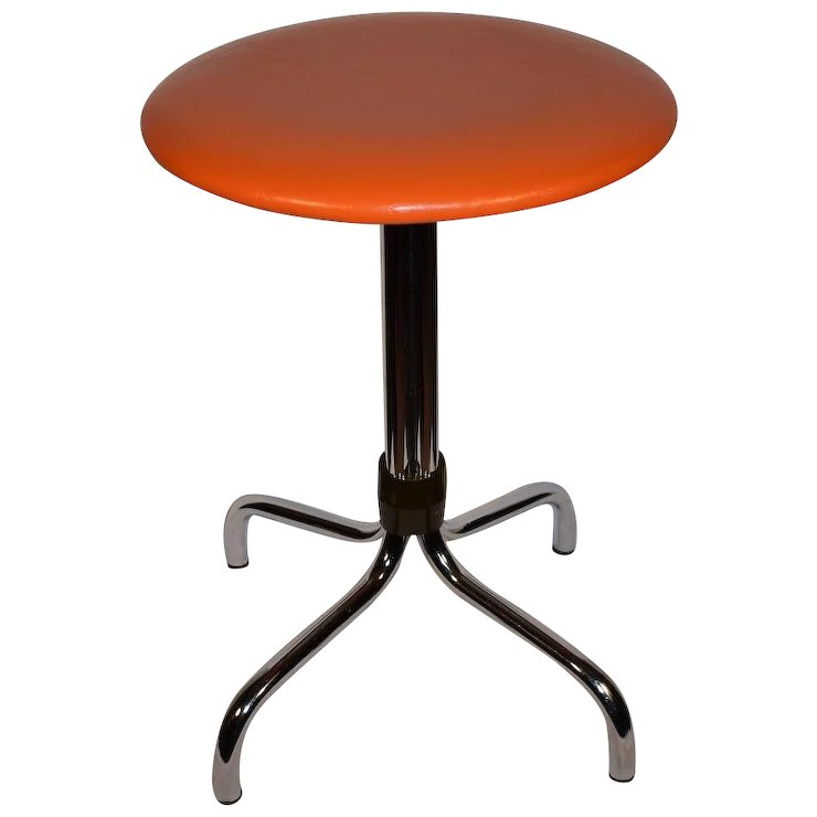 Mid Century Modern Dutch Space Age Orange Chrome Stool