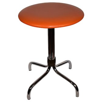 Mid Century Modern Dutch Space Age Orange Chrome Stool.