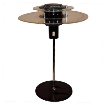 Mid Century Modern Danish Design Chrome & Acrylic Table Lamp, Atomic Age / UFO LAMP.