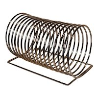 Mid Century Modern Danish Design Chrome Magazine Rack, Record Holder.