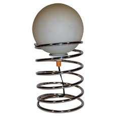 Mid Century Modern Danish Design Chrome Table Lamp, Spring Model.