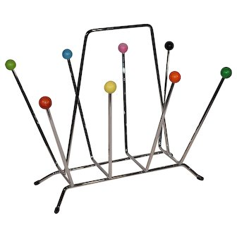 Mid Century Atomic Age Sputnik Magazine Rack Charles and Ray Eames Design.