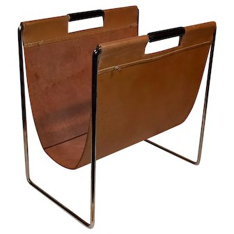Mid Century Chrome & Leather Magazine Rack  1960's