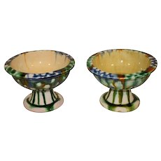 A Pair of Tang Dynasty Sancai Glazed Stem Cups - Stemmed Bowls.