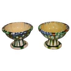 A Pair of Tang Dynasty Sancai Glazed Stem Cups - Stemmed Bowls.