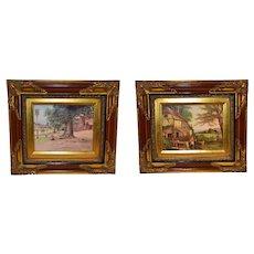 English Vintage Serigraphy Prints Wooden Frame.