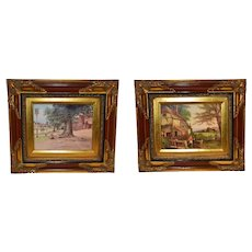 English Vintage Serigraphy Prints Wooden Frame.