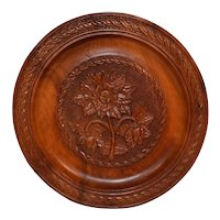 Black Forest Wooden Wall Plate, Carved Alpine Flowers