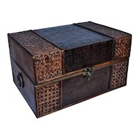 Wooden Box with Leather & Rattan Veneer.