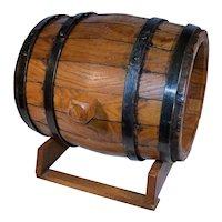 French 10 Litre Oak Wine Barrel.