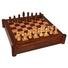 Rose Wooden Chess & Backgammon Game Box.