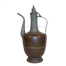 Antique 19TH Turkish Copper Ewer Pitcher.