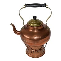 Antique Dutch Copper & Brass Tea Pot with Tea Light Burner.