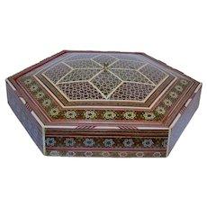 Vintage Handmade Persian Khatam Marquetry Inlaid Box.