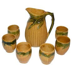 Majolica Pitcher Set Corn Design.