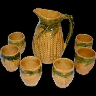 Majolica Pitcher Set Corn Design.