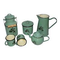 Vintage Enamel Kitchen Set with Lucky Clover Design.