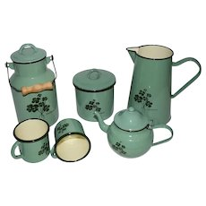 Vintage Enamel Kitchen Set with Lucky Clover Design.