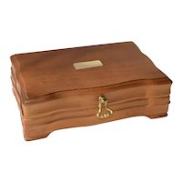 Vintage Walnut Wood Cigar Humidor Box - Aztec N.Y.C.