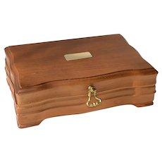 Vintage Walnut Wood Cigar Humidor Box - Aztec N.Y.C.
