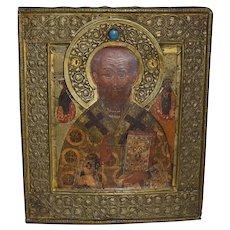 19TH Russian Orthodox icon  of Saint Nicholas.
