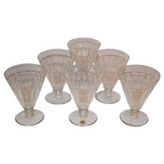 Val St. Lambert Crystal Orange Juice Glasses, Gonsole Osram.