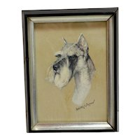 Schnauzer Dog Portrait Artist Signed Walter L. Brown (American School 20th Century)