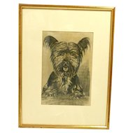 Vintage Framed Skye Terrier Etching on Silk