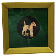 Vintage Needlepoint Wire Haired Fox Terrier Dog Framed c.1940's
