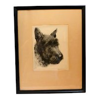 Vintage Scottish Terrier Dog Portrait Signed Kurt Meyer-Eberhardt