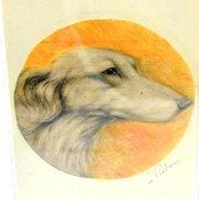 Original Saluki Dog Portrait Signed Jacques Rebour