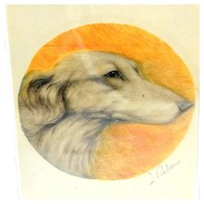 Original Saluki Dog Portrait Signed Jacques Rebour