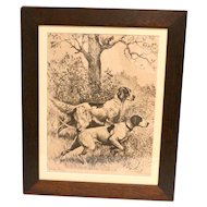 "Vintage Reinhold H. Palenske ""Steady Boys"" Etching of Sporting Dogs c.1940's"